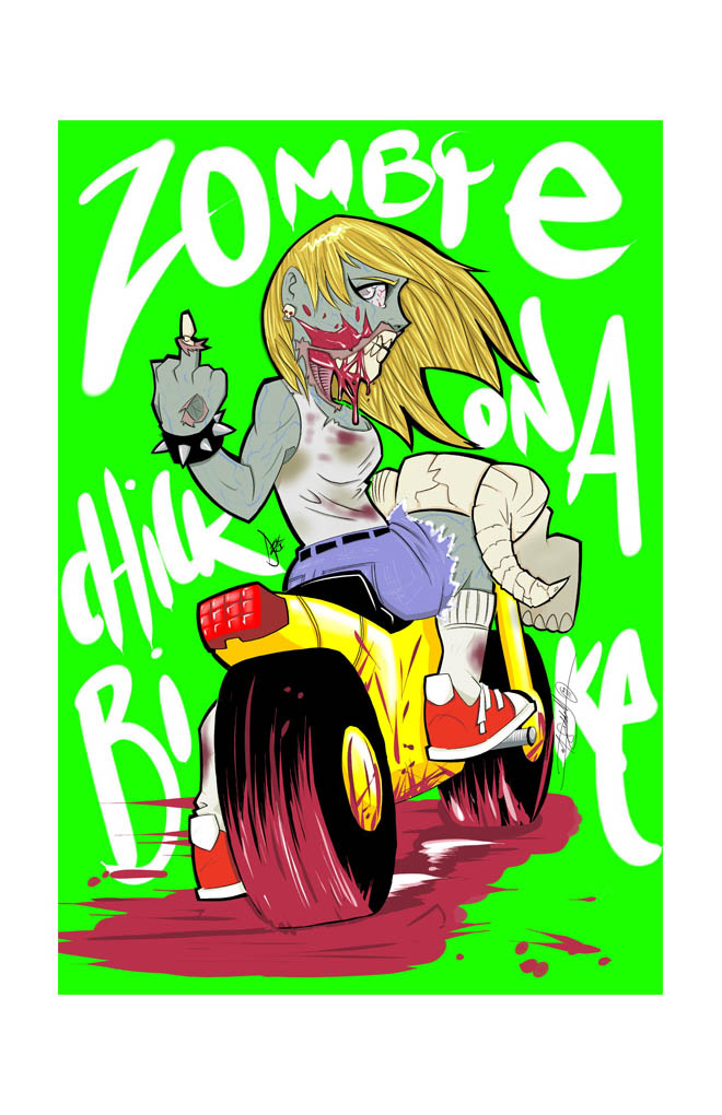 'Zombie Chick On A Bike' - Digital / Sketchbok Pro / Fujitsu ST5112 - Pencils/Inks/Colours- Dave Siddall